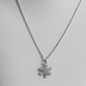 Pave Set CZ Snowflake Sterling Silver Necklace